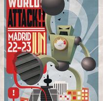 Cartel Other Worlds Attack. Un proyecto de Ilustración de Alvaro Portela Martínez - 12.04.2012