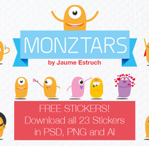Monztars Stickers. A Illustration project by Jaume Estruch Navas - 29-04-2014