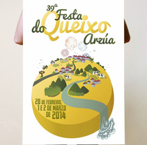 Cartel festa do queixo. A Design&Illustration project by Ángela Búa - 07-08-2014