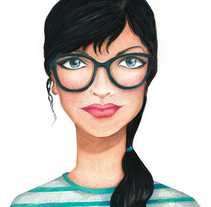 Chica con gafas. A Illustration project by Sandra  Martinez         - 15.02.2015