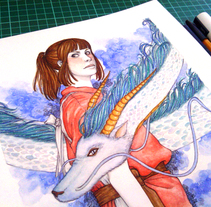 Spirited Away - El viaje de Chihiro. A Design, Illustration, Fine Art, and Painting project by Tamara Castro Laplaña - 16-02-2015