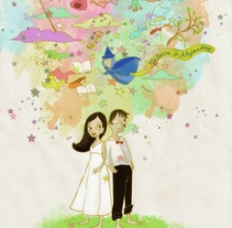 Invitación boda. Um projeto de Ilustração, Artes plásticas e Design gráfico de Almudena Cardeñoso         - 04.05.2015
