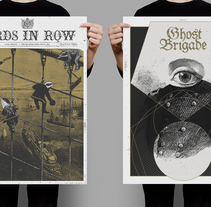 BIRDS IN ROW / GHOST BRIGADE. A Illustration, Graphic Design, Screen-printing, and Collage project by Jaqueline Vanek         - 30.05.2015