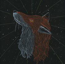 Cosmic Fox. A Illustration, Fine Art, Graphic Design, and Painting project by Marta Maldonado - 26-07-2015