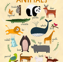 Aphabet, Animals and Numbers / Carteles para Hansol Education. A Illustration, and Graphic Design project by ana seixas         - 14.04.2015