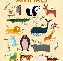 Aphabet, Animals and Numbers / Carteles para Hansol Education. Un proyecto de Ilustración y Diseño gráfico de ana seixas         - 14.04.2015