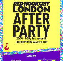 Red Hook Crit London No.1 - After Party Poster. Um projeto de Design, Direção de arte, Design gráfico e   Tipografia de Armand Paul Quiroz - 21-10-2015