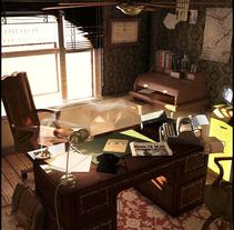 Oficina de detective de los años 70. Un proyecto de Ilustración, 3D y Diseño de interiores de Anton Freixas Alió         - 12.11.2015