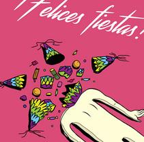 """Postal navideña """"Cabeza de piñata"""". Um projeto de Ilustração de Chuy Velez - 12-12-2015"""