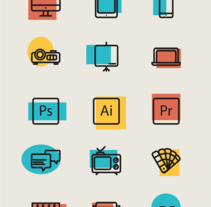 Librería de iconos. Um projeto de Br, ing e Identidade, Design gráfico e Infografia de Alba Romero de la Herrán         - 19.04.2016