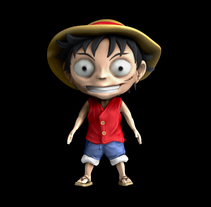 Practice chibi en T, luffy OnePiece. A 3D, Animation, Character Design, and Comic project by Toni Rubio Gutierrez         - 25.01.2016