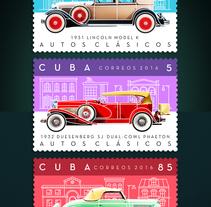 Autos clásicos. Sello postal. Un proyecto de Ilustración y Diseño gráfico de Roberto Roiz - Sábado, 20 de febrero de 2016 00:00:00 +0100