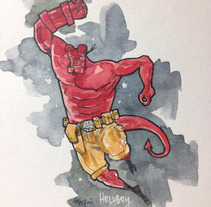 Hellboy by pepepue. A Illustration, Character Design, Painting, and Comic project by Pep Puertas Vidal - May 24 2016 12:00 AM