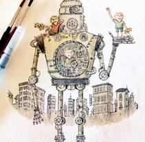 TRES NIÑOS Y ROBOT. A Illustration project by pedro parrilla - Aug 14 2016 12:00 AM