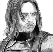 Retrato Sebastian Stan como Soldado de Invierno (Capitán América: El soldado de invierno). A Illustration, Film, Video, TV, Fine Art, and Film project by helena diaz         - 29.10.2016