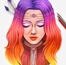 The sunset in her hair. A Illustration project by Ana Filipa Viegas         - 12.11.2016