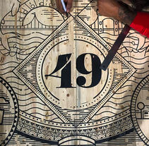 Vault 49 NY, mesa de conferencias. . Un proyecto de Ilustración, Serigrafía y Tipografía de Abraham García  - Martes, 14 de febrero de 2017 00:00:00 +0100