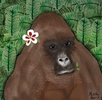 Gorilla illustration. Un proyecto de Ilustración y Diseño de personajes de BEATRIZ SOLDAN LOPEZ - 11-03-2017