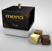 CAJA DE BOMBONES LUXURY BY MERCI, nueva variedad Gourmet. A Design, Br, ing, Identit, Graphic Design, and Packaging project by Ana S. Dullius - 26-01-2017