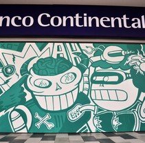 Proyecto BBVA Banco Continental. A Illustration, Character Design, Painting, and Street Art project by Fer         - 23.03.2017