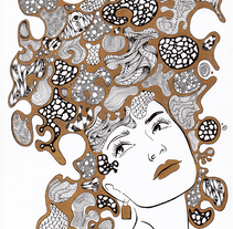Bubble Girl: Gold. A Illustration, and Fine Art project by María Delgado Prieto         - 20.05.2015
