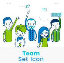 Team set icon. A Character Design, and Vector illustration project by Ana Roca         - 30.05.2017