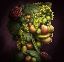 Retrato vegetal estilo Arcimboldo. A Illustration, and Fine Art project by Juan Muñoz         - 07.06.2017