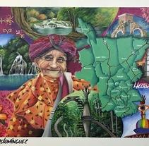 Mural Mapa Huasteca Potosina . A Illustration, Crafts, Fine Art, L, scape Architecture, Painting, Street Art, Infographics, and Signage design project by Héctor Armando Domínguez Rodríguez - 07-07-2017