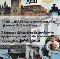 cartel inauguración restaurante. Un proyecto de Publicidad de Maria Magdalena Cara Callejon - 10-06-2017