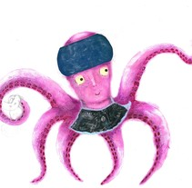 This octopus is the main character of the book that I am making a children's story. The technique is acrylic and collage.. Um projeto de Ilustração, Design editorial e   Animación de personajes de Tatiana Moneta         - 13.11.2017