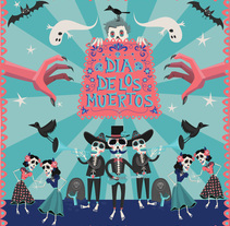 Dia de los muertos. A Illustration, Character Design, Graphic Design, Pattern design, and Vector illustration project by Débora Baselga - 01-11-2017