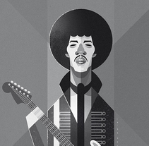 Jimi Hendrix. A Illustration, and Vector illustration project by Ricardo Polo López - 01-12-2017