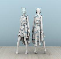"Mi Proyecto del curso: Diseño de estampados textiles ""lobo en bosque azul"". A Design, Illustration, Costume Design, Product Design, and Pattern design project by Javier  Sodi - 08-02-2018"