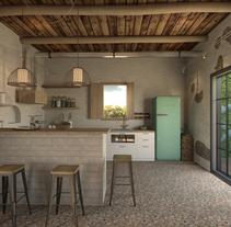 COCINA CASA-CAMPO. Um projeto de 3D, Arquitetura de interiores e Design de interiores de Soledad Durán         - 20.02.2018