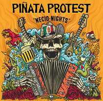 "Piñata Protest - Ilustración para la portada de su álbum ""Necio Nights"". A Illustration project by Marcos Cabrera         - 07.03.2018"
