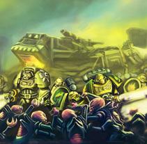 WARHAMMER 40000 salamanders space marines vs genestealers concept art fandom. Un proyecto de Ilustración, Fotografía, Bellas Artes y Pintura de Gabriel Navarro Romero         - 13.04.2018